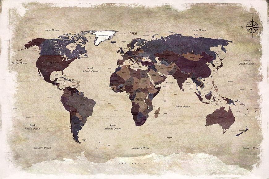 Vlies fotobehang Old Worldmap 3 vanaf 120x80cm