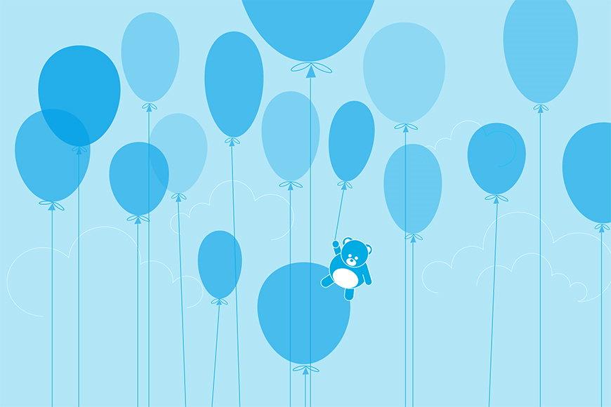 Vlies fotobehang Teddybeer Ballon vanaf 120x80cm