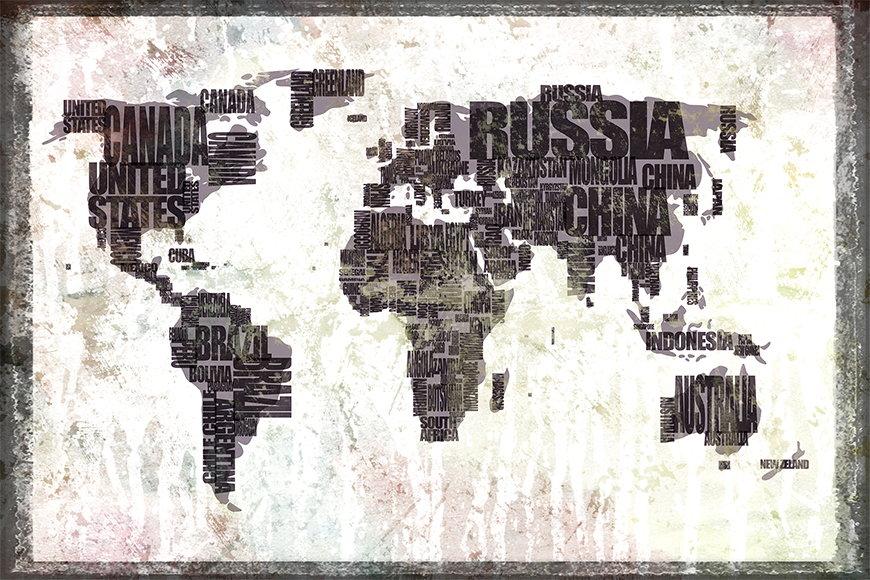 Vlies fotobehang Wereldkaart 17 vanaf 120x80cm