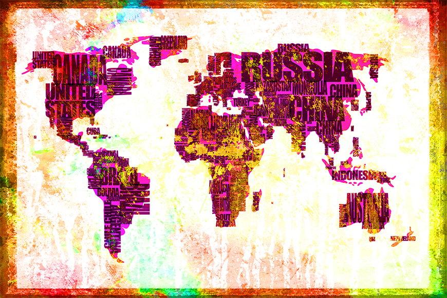 Vlies fotobehang Wereldkaart 3 vanaf 120x80cm