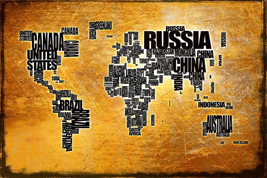 Vlies fotobehang Wereldkaart 6 vanaf 120x80cm