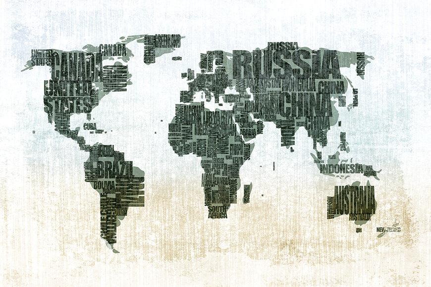 Vlies fotobehang Wereldkaart vanaf 120x80cm