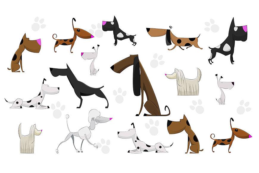 Vliesbehang Cartoon Dogs