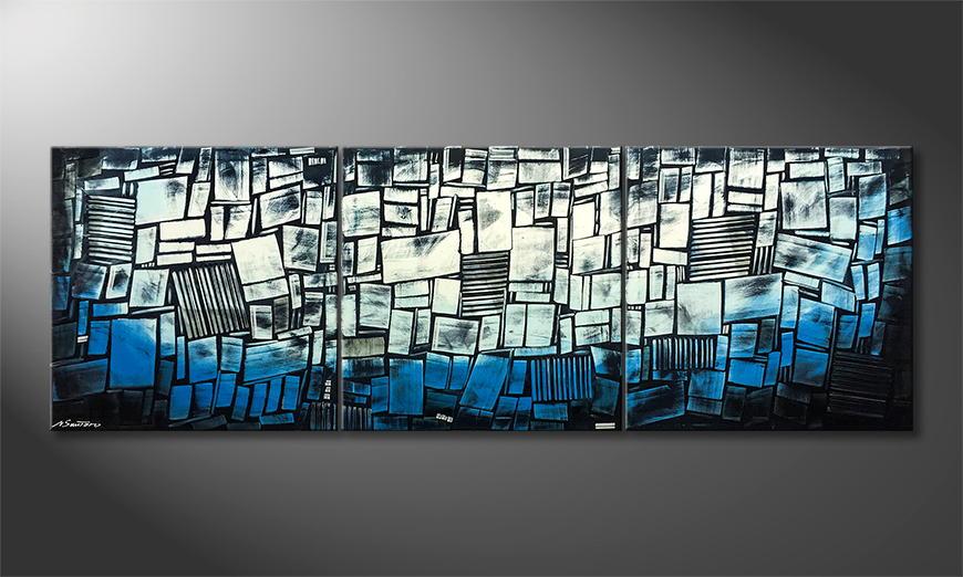 De schilderij Abstract Ice 240x80x2cm