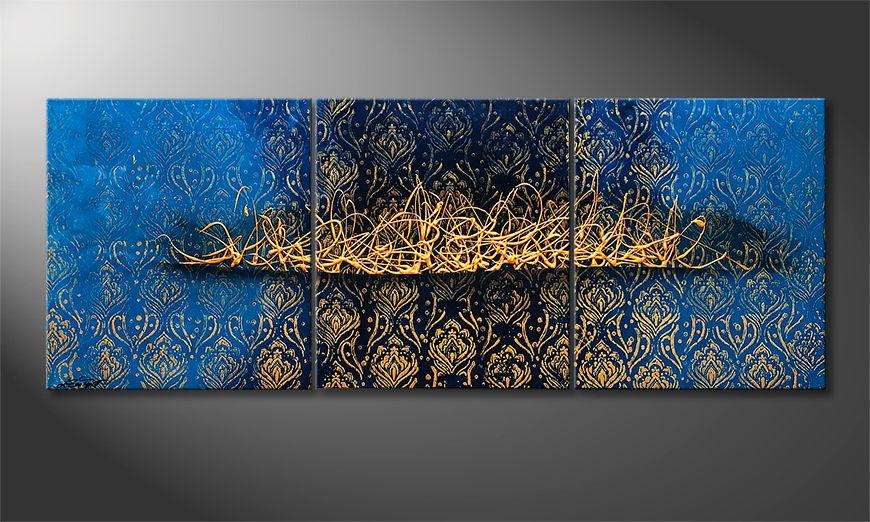 De schilderij Arabic Gold 180x70x2cm
