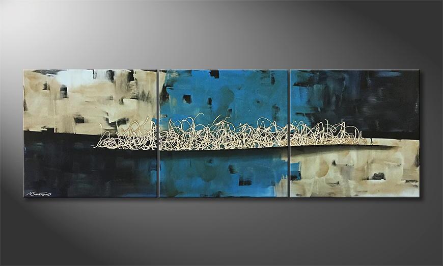 De schilderij Arctic Distortion 210x70x2cm
