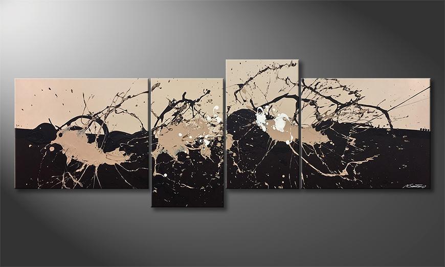 De schilderij Café Au Lait 220x80x2cm