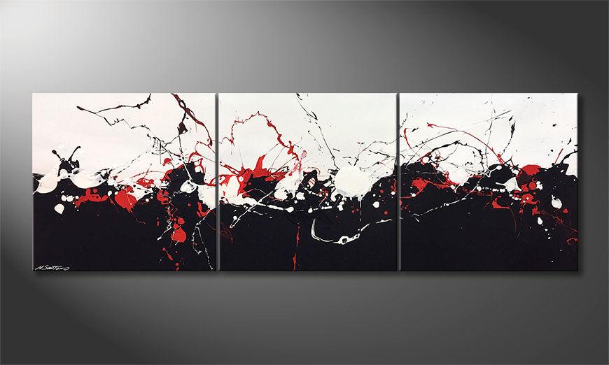 De schilderij Clashing Contrasts 210x70x2cm