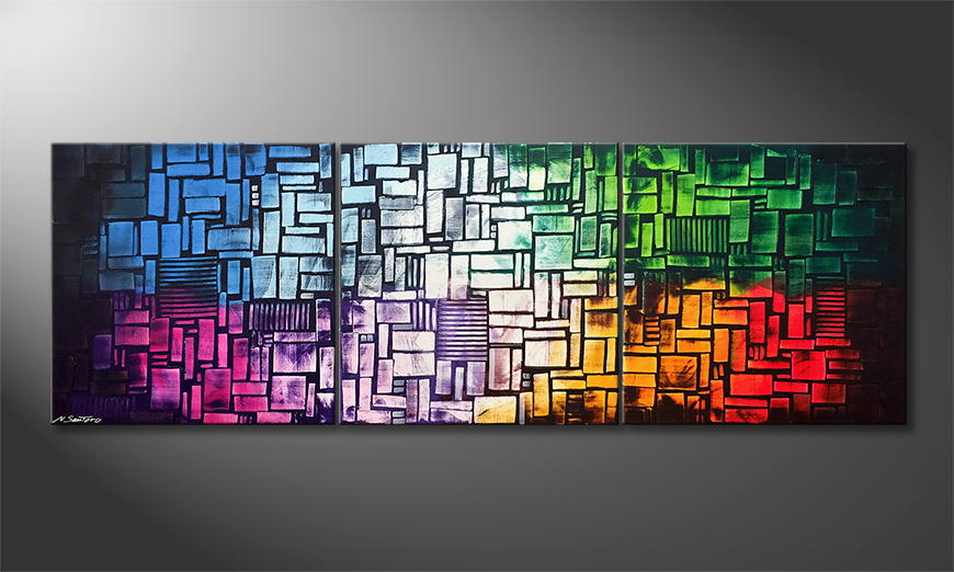De schilderij Color Cubes 240x80x2cm