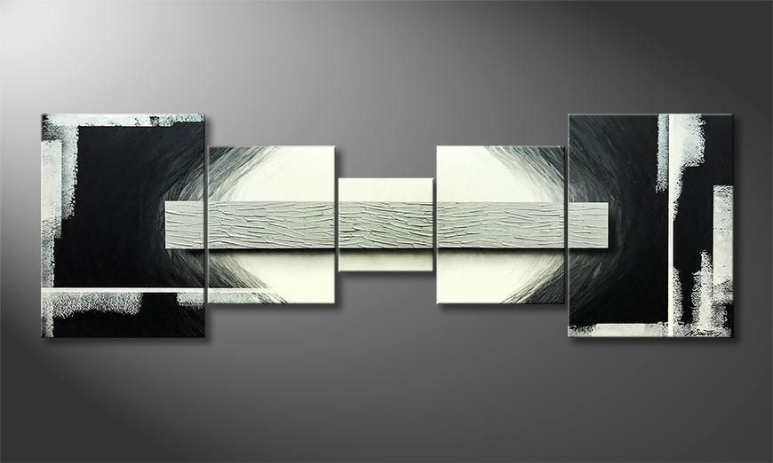 De schilderij Contrast 210x70x2cm