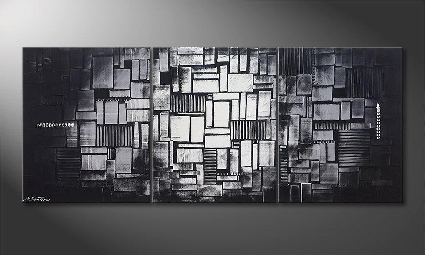 De schilderij Cubic Moonshine 180x70x2cm