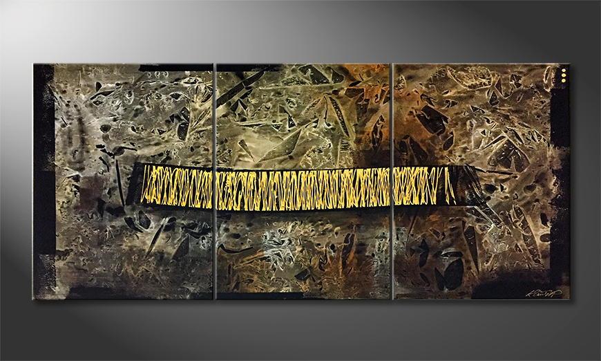 De schilderij Depth Of Chaos 180x70x2cm