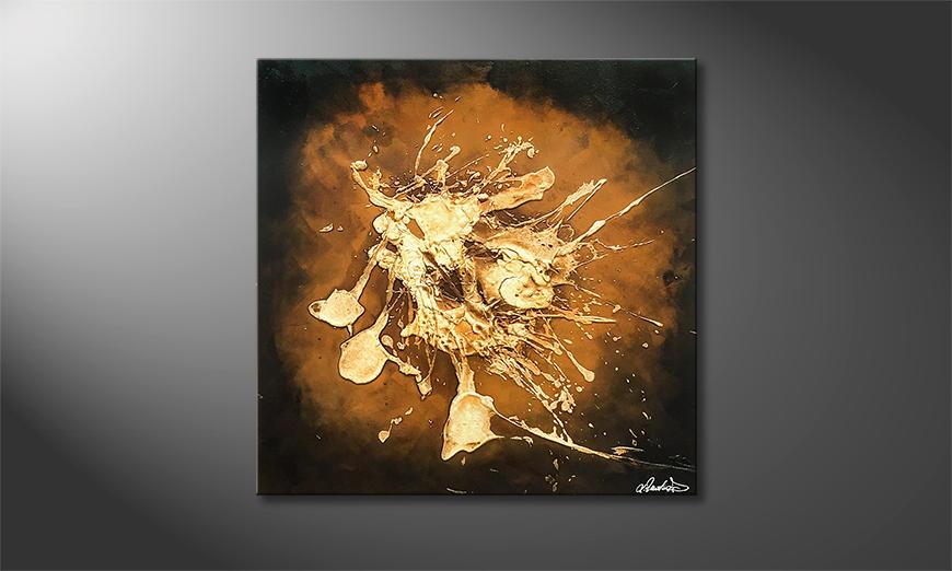 De schilderij Earth Eruption 80x80x2cm