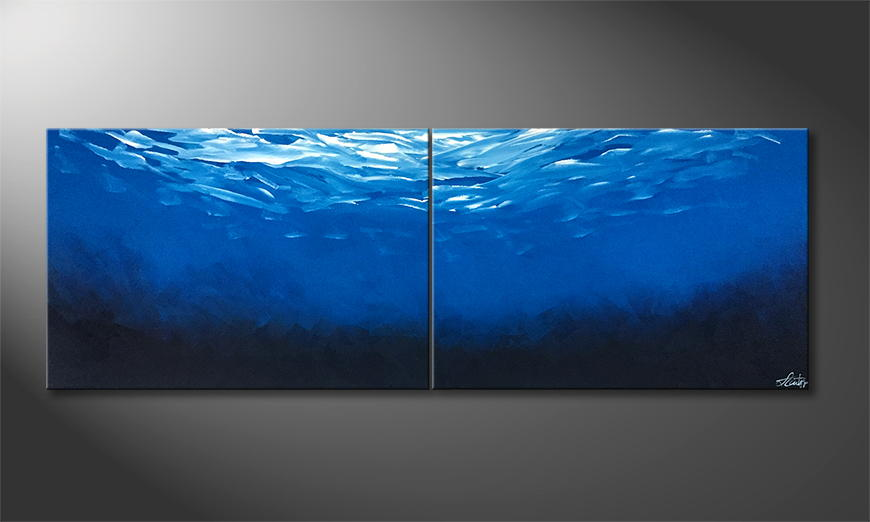 De schilderij Endless Blue 200x70x2cm