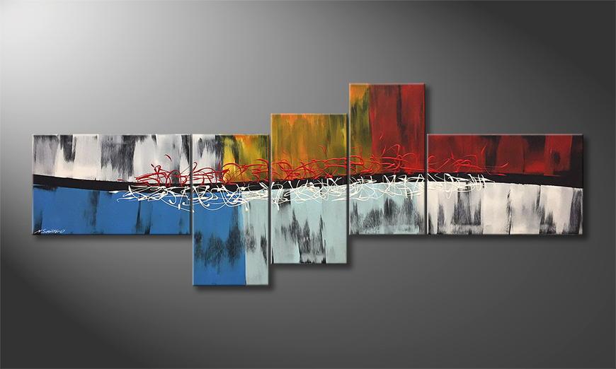 De schilderij Fire And Ice 210x80x2cm