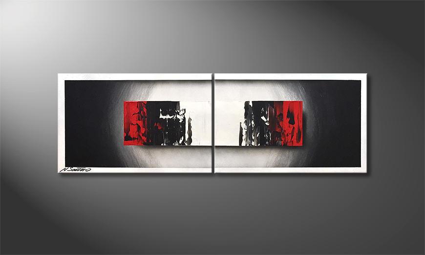De schilderij Glowing Black 120x40x2cm