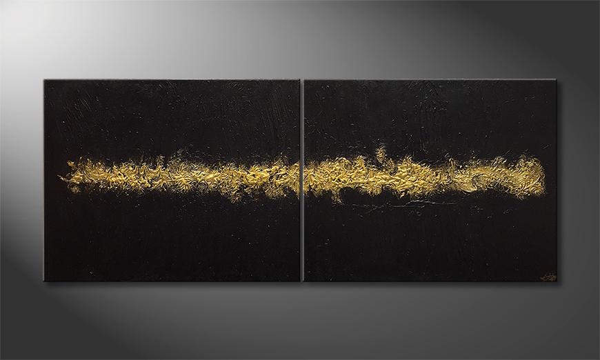 De schilderij Gold Vein 200x80x2cm