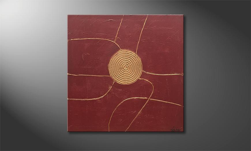 De schilderij Golden Center 80x80x2cm