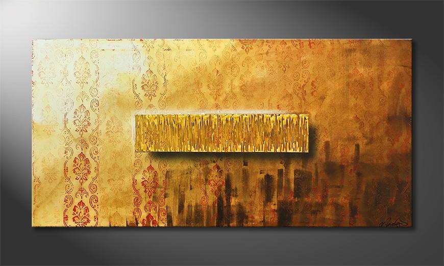 De schilderij Golden Freedom 140x70x2cm