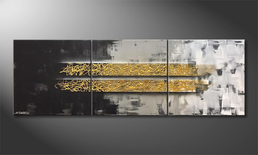 De schilderij Golden Harmony 210x70x2cm