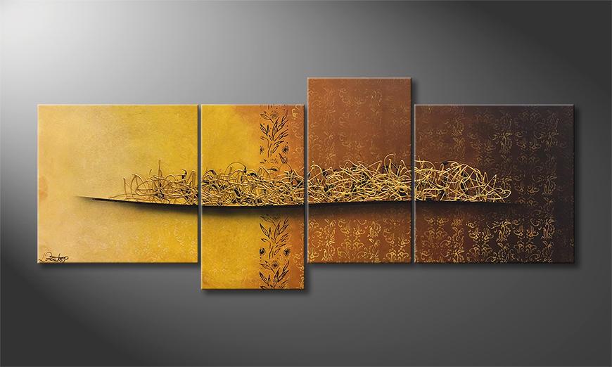 De schilderij Golden Nights 200x80x2cm