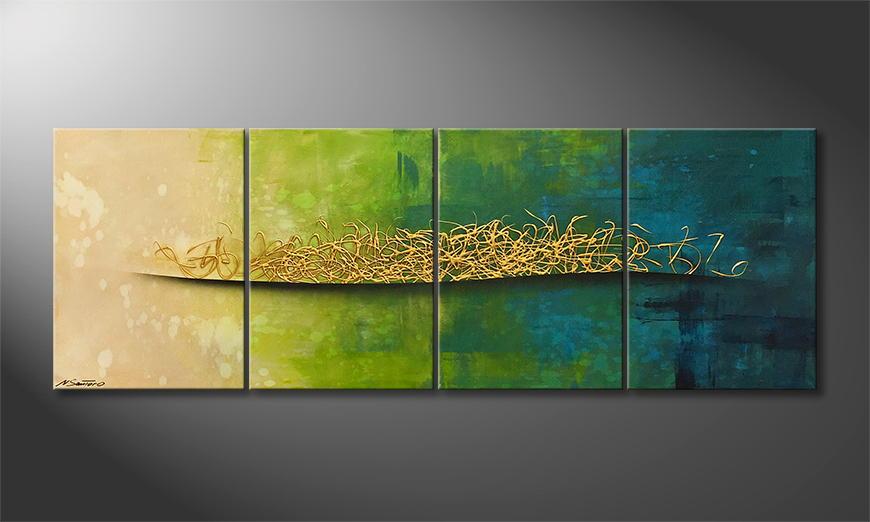 De schilderij Golden Summer 200x70x2cm