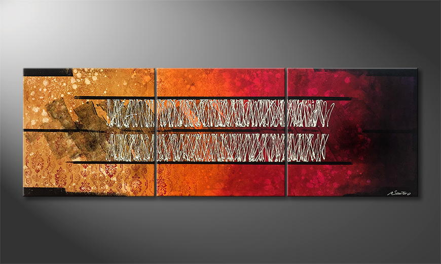 De schilderij Hidden Past 210x70x2cm