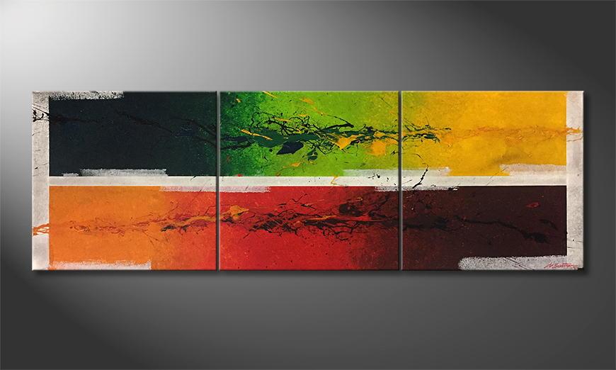De schilderij Inflammable Nature 210x70x2cm