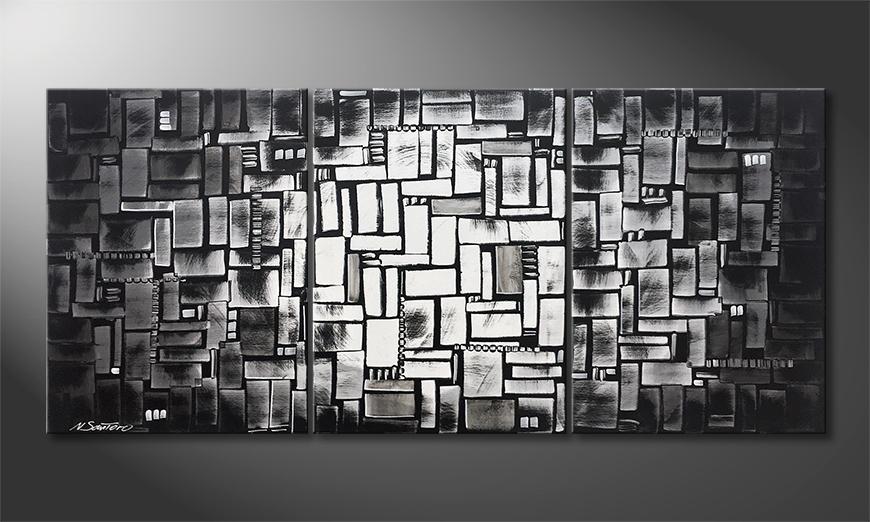 De schilderij Inner City Night 150x70x2cm