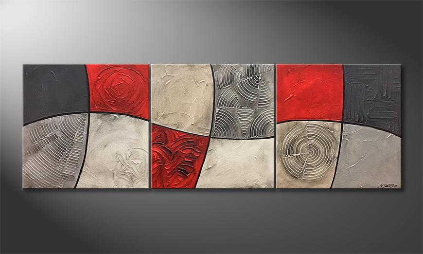 De schilderij Life Lines 210x70x2cm