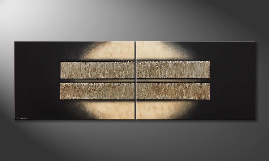 De schilderij Liquid Silver 240x80x2cm