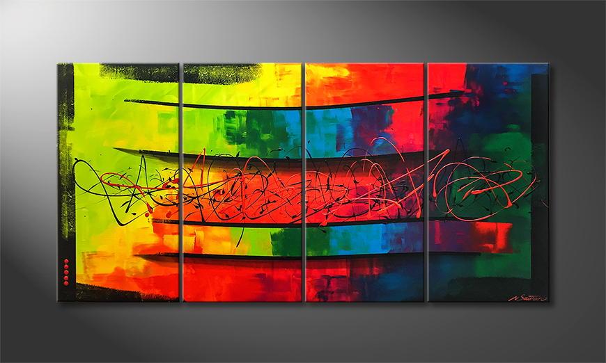 De schilderij Living Rainbow 160x80x2cm