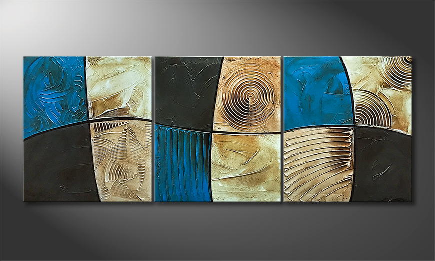 De schilderij Mystery Blue 180x70x2cm