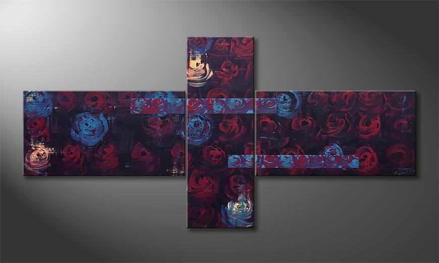 De schilderij Night Of Roses 170x90x2cm