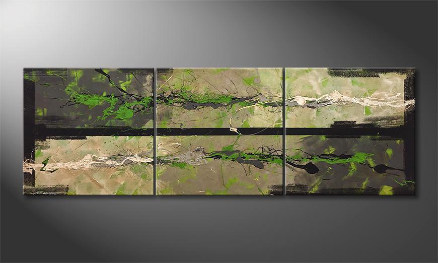De schilderij Night vs. Day 210x70x2cm
