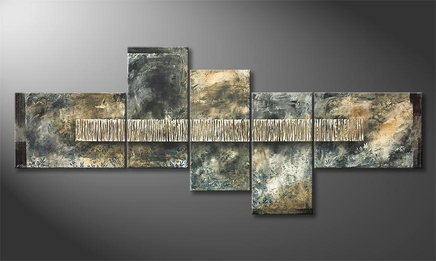 De schilderij November Rain 260x110x2cm