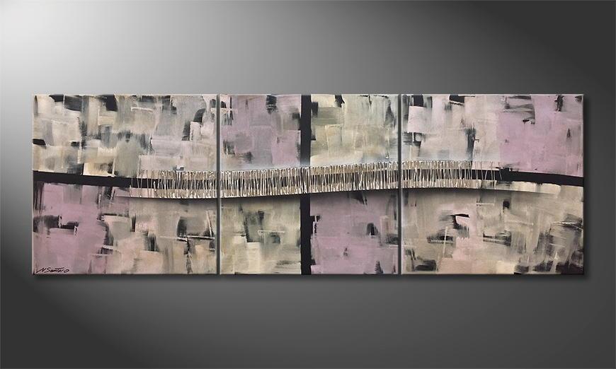 De schilderij Pulsating Silver 210x70x2cm