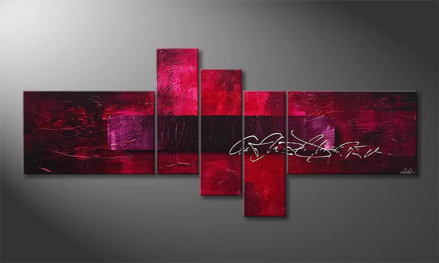 De schilderij Purple Night 180x80x2cm