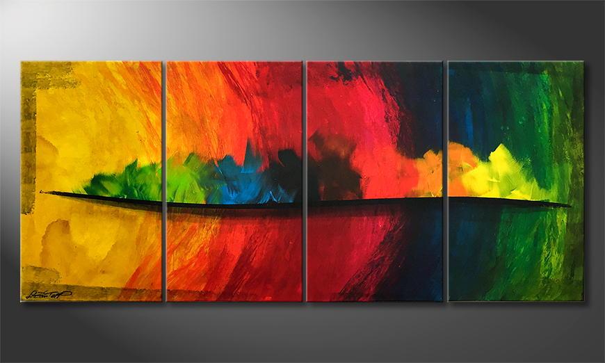 De schilderij Rainbow Flames 160x80x2cm