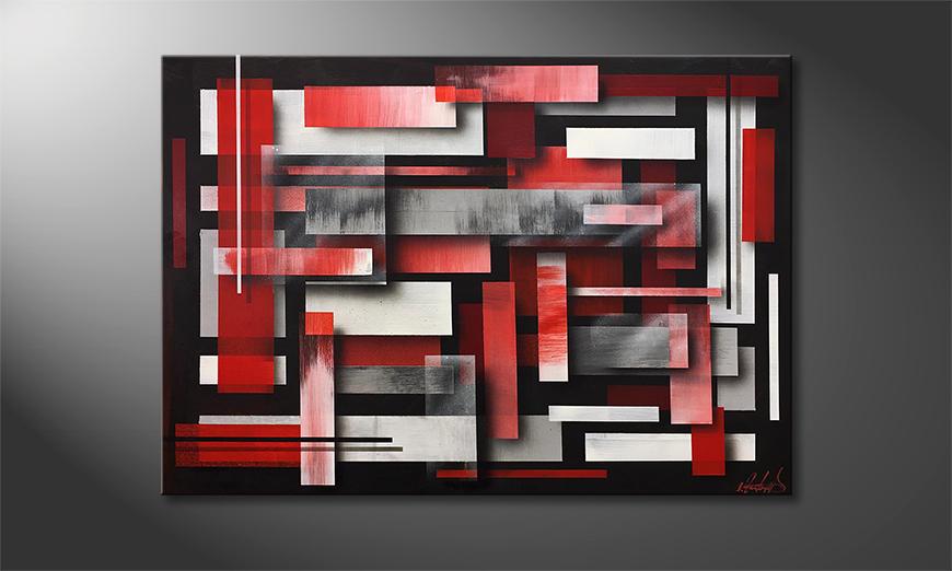 De schilderij Red Clouds 100x70x2cm