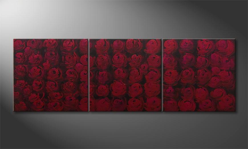 De schilderij Rose Bed 180x60x2cm