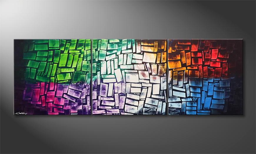 De schilderij Scattered Light 210x70x2cm