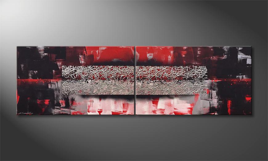 De schilderij Silver Ash 200x60x2cm