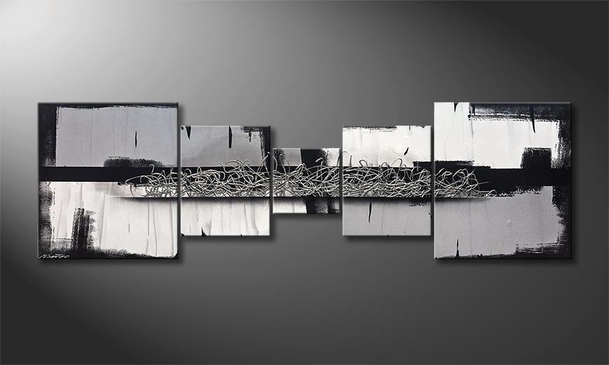 De schilderij Silver Blade 230x70x2cm