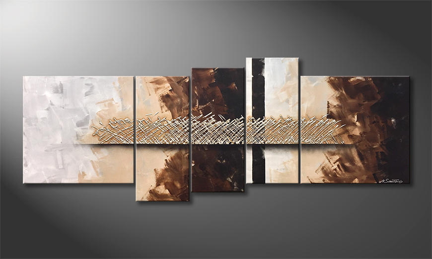 De schilderij Silver Matrix 210x80x2cm