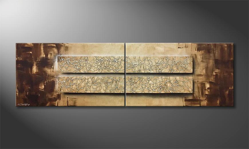 De schilderij Silver Spirits 200x60x2cm