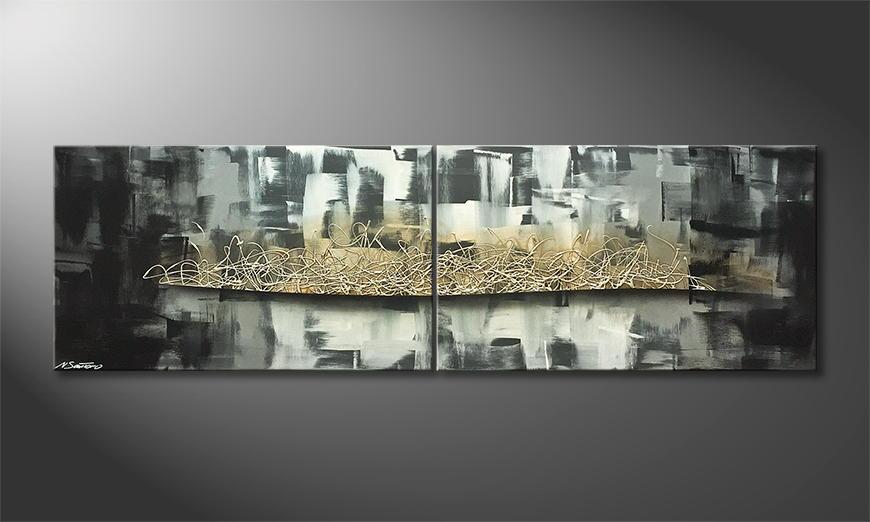 De schilderij Silver Storm 200x60x2cm
