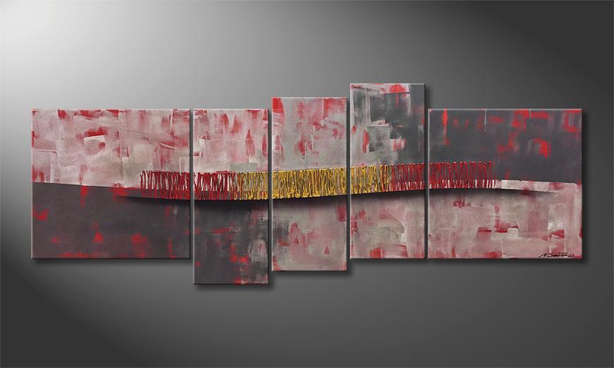 De schilderij Silver Stream 210x80x2cm