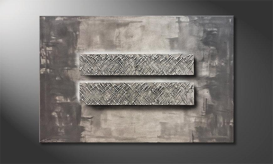 De schilderij Silver Twins 120x80x2cm