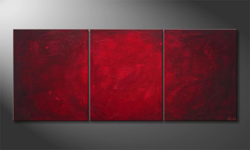 De schilderij Simply Red 210x90x2cm